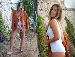 Claudia Villanueva - Sheinside Jacket, Lookbook Store Swimsuit, Jeffrey Campbell Shoes Sandals - 3 Years With Trendencies