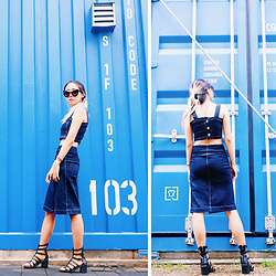 Day Ji - Zaful Sunglasses, Zaful Denim Crop Top, Zaful Denim Skirt - Denim On Denim