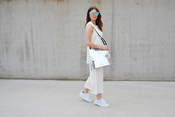 Sofie Rome - Twin Sister Vest, Quay Marble Sunglasses, Zign Silver Bag, Topshop Jumpsuit, Tamaris White Creepers - WECANDANCE outfit