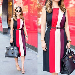Jenn Lake - Halogen Colorblock Belted Midi Dress, Ray Ban Aviator Sunglasses, Hermes Black Birkin 35 Bag, Hermes Collier De Chien Cdc Cuff, Tory Burch Gold Firenze Sandals, Kate Spade Lovely Lillies Tassel Earrings - Colorblock Belted Midi Dress