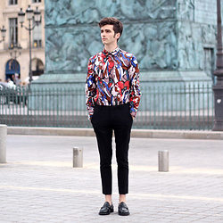 "Matthias C. - Marni Multicolor Printed Shirt, Asos Black Pants, Church's Loafers - ""Colorblind"""