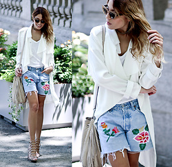 Lauren G. - Madewell X Jm Drygoods Denim Shorts, Marna Ro White Trenchcoat, Z Supply Basic White Tee, Schutz Jaden Sandals, Brian Atwood Fringe Crossbody Bag, Quay Kitti Sunglasses - Denim Blossoms