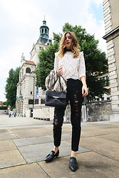 Alix M - Chanel Bag, Tory Burch Jacket, Forever 21 Ripped Jeans - Ripped Jeans & Cute Top