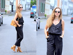 Rimanere Nella Memoria - Justfab Jumpsuit, Justfab Shoes, Justfab Bag, Time For Wood Sunglasses - Black Jumpsuit