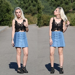 Cátia Gonçalves - Sammydress Lace Top, Pull & Bear Skirt, Jeffrey Campbell Shoes Cut Out Boots - Close your eyes and I'll kiss you