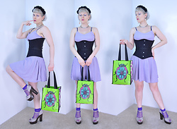 Suzi West - Forever 21 Flower Headband, Suziwestmodel Barbie Hand Earrings, Suziwestmodel Eyeball Necklace, Old Navy Lavender Sundress, Subculture Corsets Double Steel Boned Waist Trainer Corset, World Market Beetle Tote Bag, Jellypop Platform Peeptoe Sandals - 11 July 2016