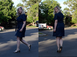 Elizabeth Claire - Forever 21 Denim Dress, Clarks Gold Mary Janes - Juillet