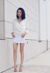 Sun Zibar - Faith Connexion Silk Shirt, Zara Denim Skirt, Stuart Weitzman The Nudist Sandals, Konplott Lost Garden Collier - White Summer