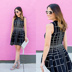 Jenn Lake - Topshop Fit And Flare Knit Dress, Leith Suede Tassel Clutch, Kate Spade White Raelyn Sunglasses, Sam Edelman Grey Suede York Sandals, Kendra Scott Rogan Starburst Earrings - Fit and Flare Knit Dress