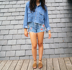 Madison S - Nasty Gal Denim Crop Top, Topshop Shorts, Tory Burch Suede Sandals - Denim on Denim