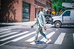 Igee Okafor - Topman Suit, Iro Paris Cuban Collared Shirt, Frank Wright Sneakers, Warby Parker Sunglasses - Style Journal, New York Fashion Week: Men's SS17 - Day 1