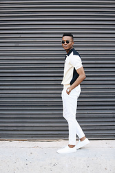 Igee Okafor - Warby Parker Sunglasses, Tomorrowland Knit Polo, Shore Projects Wrist Watch, H&M Trousers, Frank Wright Sneakers - Style Journal, New York Fashion Week: Men's SS17 - Day 2