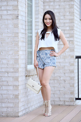 Kimberly Kong - Karmaloop White Crop Top, Francesca's Printed High Waisted Shorts, Amiclubwear Gladiator Sandals, Amiclubwear Quilted Crossbody Bag - Remixing Old Favorites