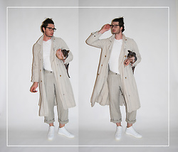 Matthew Reinhold - Aureus Sneakers, Dkny Pants, Margaret Howell Coat, Kit + Ace Shirt, L.A. Eyeworks Eyeglasses - Inspector Linen