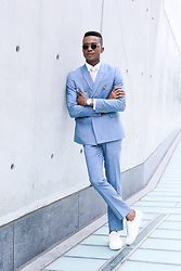Igee Okafor - Warby Parker Sunglasses, Topman Tie, Shore Projects Wrist Watch, Topman Double Breasted Suit, Frank Wright Sneakers - Style Journal, New York Fashion Week: Men's SS17 - Day 3