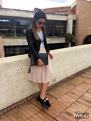 Viviana Haiku - Basement Leather Jacket, Stradivarius Printed T Shirt, Stradivarius Pink Skirt, Basement Shoes, Forever 21 Sunglasses - Pretty In Pink