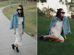 Taylor Smith - Celine Sunglasses, Stone Cold Fox Skirt, Everlane Top, Topshop Jean Jacket, Modern Vice Boots - Summer in Lace