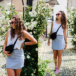 Gabriela Grębska - Missguided Jersey Skirt, Mango Top, Rise Eyewear Sunglasses, Daniel Wellington Watch, Even&Odd Hip Bag, Deezee Sneakers - Grey jersey skirt