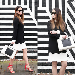 Jenn Lake - Cece By Cynthia Steffe Jada Contrast Collar Scalloped Shift Dress, Henri Bendel Colorblock Tote, Steve Madden Red Strappy Sandals, J. Crew Tortoise Sunglasses, Chanel Crystal Earrings - Black and White Scalloped Dress
