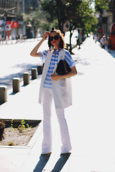 Andreea Birsan - Zaful Black Sunglasses, Sammydress Striped Ruffle Top, Black Crossbody Bag, Stradivarius White Vest, Mango Premium White Flared Jeans, Call It Spring White Stiletto Shoes - White flared jeans: how to wear the trend II