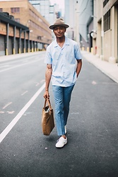 Igee Okafor - Goorin Bros. Dean The Butcher Hat, Harmony Paris Cristophe Shirt, Topman Trousers, Frank Wright Uk Sneakers, Veja Cabas Canvas Tote Bag - Style Journal, New York Fashion Week: Men's SS17 - Day 4