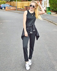 Isobel Thomas - Adidas Superstars, Primark Monochrome Bomber Jacket, Fshion.Me Jumpsuit - Sporty Luxe