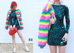 Kate Hannah - Motel Gabby Sequinned Dress, Lazy Oaf Fur Face Jacket, Frothlyf Lucidity Kaleidoscopes, Iro Starye Sneakers, Chip The Teacup Pastel Pink Fluffies - Mermaid Scales