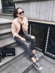 The Day Dreamings - Ivyrevel Bomber Jacket, Triwa Sunglasses, Converse Sneakers, H&M Ripped Jeans, Proenza Schouler Bag, Nicolevienna Watch - On the streets of Amsterdam