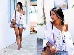 Konstantina Antoniadou - Miss Sixty Shorts, Macy's Off Shoulder Top (Similar) - Island Life in white and blue