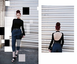 Mimi M - H&M Backless Top, Cos Jeans, H&M Clutch Bag, Topshop Block Heels - Casual Chic