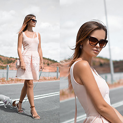 Tamara Bellis - Kira Plastinina Pink Pastel Dress, Migato Greek Sandals, New Yorker Pink Pastel Bag, Cndirect Sunglasses - Sunday Dress