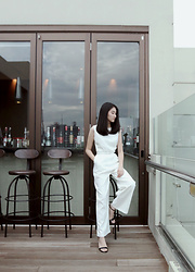 Christina Lee - Nyla, Prettyfit 2 Straps Heels - Jumped Into White Jumpsuits