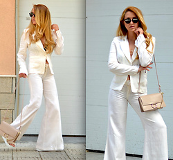 Martina Manolcheva - Suit, Bag, Sunglasses, Shoes - White Linen Suit