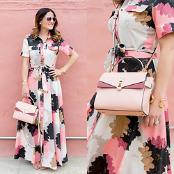 Jenn Lake - Banana Republic Floral Maxi Shirt Dress, Henri Bendel Pink Mini Uptown Satchel, Steve Madden Tan Suede Carrson Sandals, Giles And Brother Gold Cortina Cuff, Kate Spade Pink Genice Cateye Sunglasses - Pink Floral Maxi Shirt Dress
