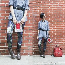 Ren Rong - East India Company Linen Shirt, H&M Leggings, Steve Madden Boots - Poetry, Sea Monkeys