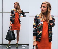 Eliska H. - Adidas Jacket, Reebok Classic Sneakers - Orange Dress & Adidas Jacket