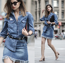 Adriana Gastélum - Shein Denim Shirt, Shein Denim Skirt, More Details And Outfits On: - D o D
