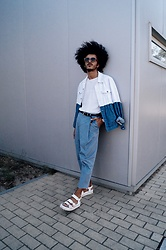 Marco Moura - Asos Sandals, Zara Pants, H&M T Shirt, Asos Denim Jacket, Zara Belt, Asos Watch, Woodzee Sunglasses - Blues and whites