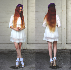 Liza LaBoheme - White Lace Dress, Tree Branch Necklace, Topshop Socks, Topshop Mary Janes - Lucia