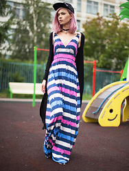 Talia Shelest - Denimbar Striped Maxi Dress, Denimbar Long Black Cardigan - Playground