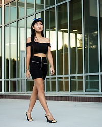 Jenny Ruan - Fame And Partners Top, Urban Outfitters Skirt, Thrifted Shoes, Pitaya Sunglasses - Mirrors all around