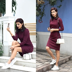 Adriana Seminario - H&M Burgundy Dress, Zara White Bag, Adidas Nmd - Burgundy Dress