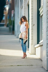Maria P - Zaful White Side Lace Up Blouse, Goldie London Jellyfish Print Bomber Jacket, Topshop Ripped Skinny Jeans, Zaful Strappy Sandals - Side Lace-Up