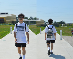 Riccardo Loconte - Police Sunglasses, Berlin Shop T Shirt Bln Love, Forever 21 Black Shorts, Adidas Socks, Tiger Trasparent Bag - Buddahood