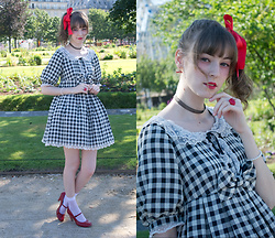 Chieko Chiekorita - Angelic Pretty Sweetie Gingham One Piece, Calzedonia White Dots Socks, Wego Love Earrings - Gingham babydoll