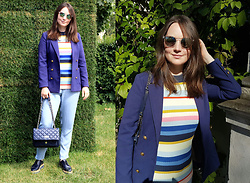 Albina Van den Berg @albinaberg - H&M Knitted Top - Colourful stripes