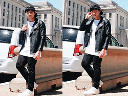 Ronwell Lim - Zara Leather Jacket, H&M Shirt, Topman Jeans, Bershka Sneakers - Day 2 In DC