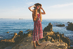 Alexe Bec - Spell Designs Skirt, Free People Boots - Sunrise in little Watego's Beach.