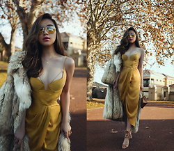 Willabelle Ong - Zimmermann Sueded Silk Dress In Brass Charmeuse, Monica Vinader Rose Gold Fine Chain Necklace And Diamond Pendant 'W', Aviator Glasses With Yellow Tint, Lace Up Heels, Chanel Classic Mini Quilted Bag, Faux Fur Longline Coat - Charmeuse