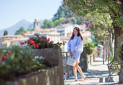 Stefanie - Sister Jane Blue Oversized Dress With Puff Sleeves, Forever 21 White Tote Bag, White Summer Flats - When in Bellagio, Lago di Como